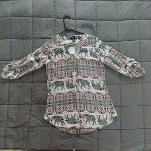 Elephant pattern 3/4 sleeve blouse